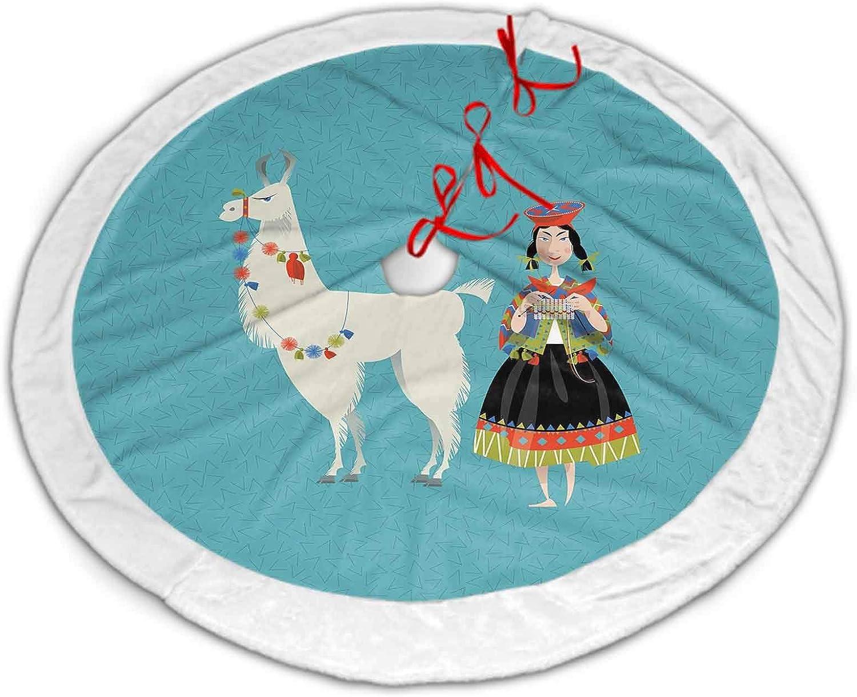 ScottDecor 2021 model Christmas Tree Skirt White Llama Ranking TOP1 Peruvian Woman Knitt