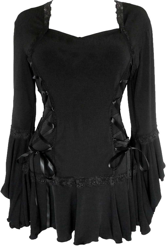 Dare to Wear Bolero Corset Top: Romantic Victorian Gothic Women's Black Lace Steampunk Cosplay Festival Blouse