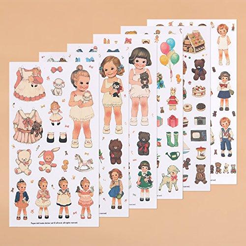 BLOUR Niedliche kreative Aufkleber Papier Mädchen Kombination Papier Puppe Mate Tagebuch Notizbuch Etikett Briefpapier Aufkleber6 Pcs/Pack