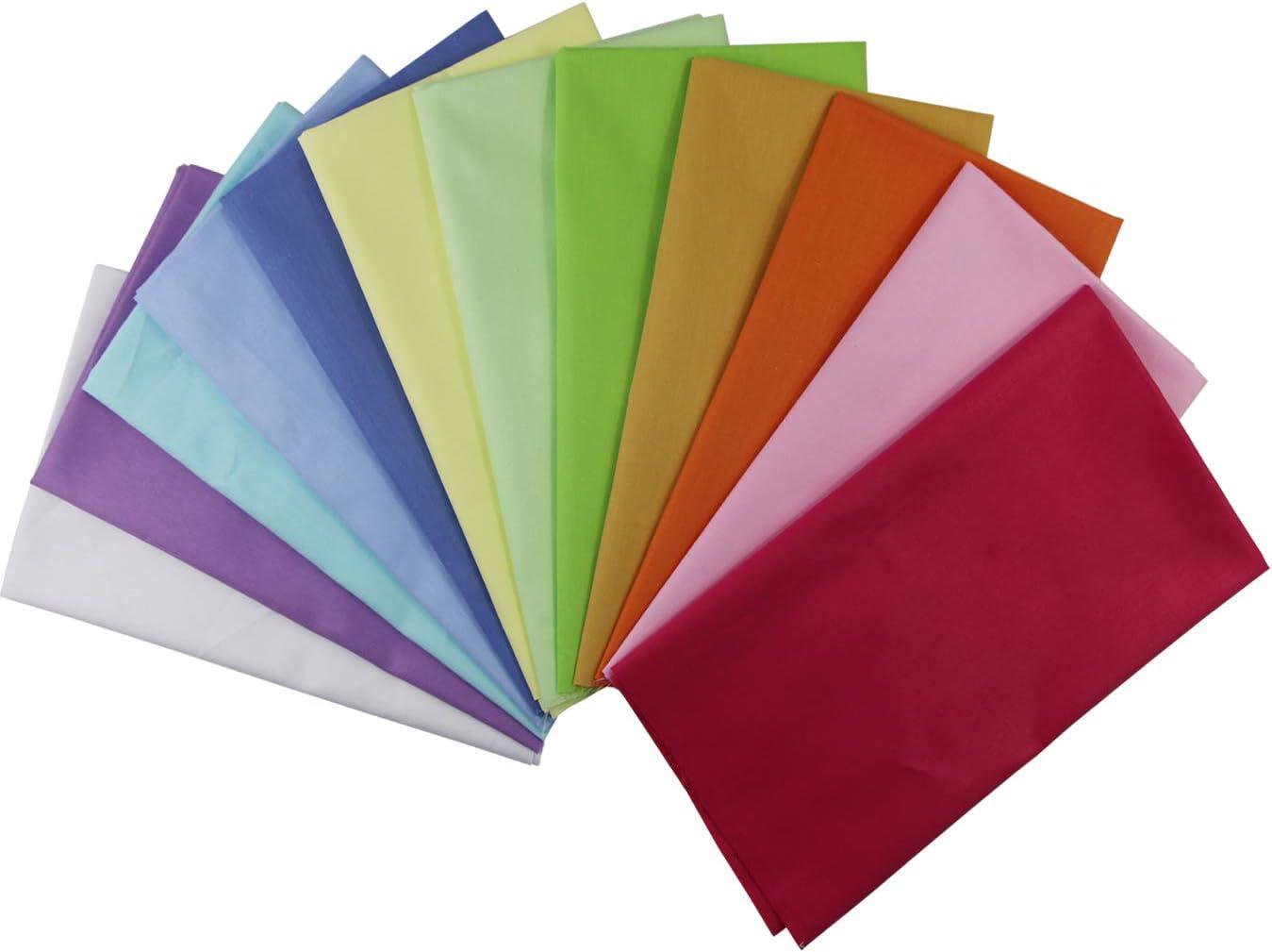 aufodara Lot de 12 Tissus Coton Couleur Unie Textile Patchwork Chiffons Couture Quilting DIY Fabric /à la Main en Tissu /à Coudre 50 x 45 cm V/êtements Sewing Artisanat Multi-Colors, 50 x 45 cm