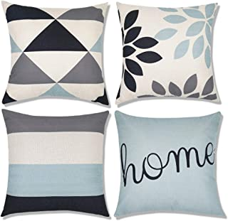 Decorsurface Decorative Throw Pillow Covers 18x18, Sofa, Couch Pillow Covers, Set of 4, Faux Linen Square Pillow Covers fo...