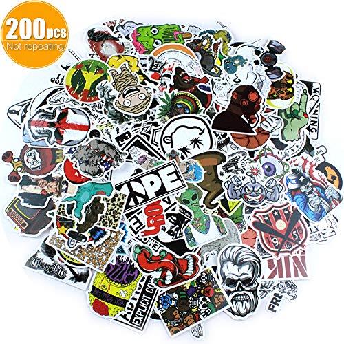 AMZSUPER ERA Aufkleber Pack 200 Stück Nicht wiederholen Wasserdicht Sticker Für Deko Koffer Laptop Skateboard Auto Motorrad Fahrrad