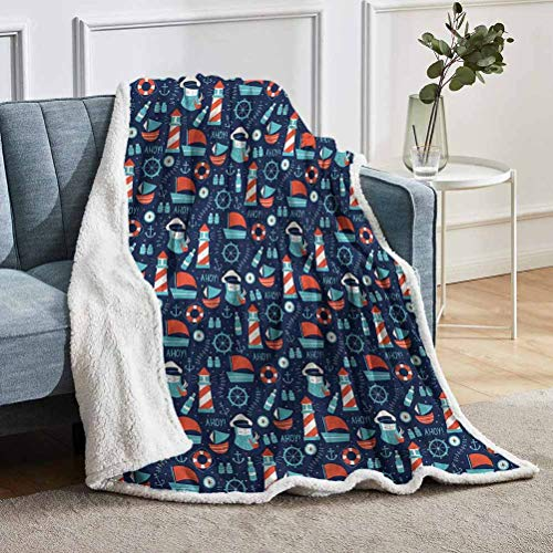 "YUAZHOQI Anchor Throw Blanket for Couch Bed Captain Boats and Helm Throw for Girlfriend Best Friend 50"" x 60"""