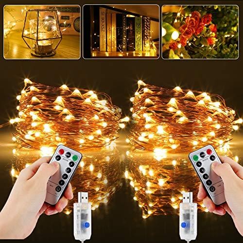 Led Lichterkette, [2 Stück] 20M 200LED USB Lichterkette Draht Wasserdicht mit Timer, Kupferdraht Stimmungs Lichterkette für Tannenbaum, Zimmer, Innen, Weihnachten, Außen, Party, Hochzeit, DIY usw