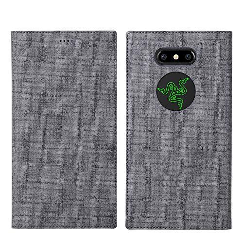 Razer Phone 2 Hülle,Leder Tasche Flip klappbares Hülle Cover Standfunktion Kartenfach Magnetverschluß Card Holder kristallklarer TPU Stoßstange Wallet Schutzhülle Handyhülle für Razer Phone 2 (Grau)