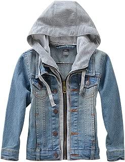Big Boys Distressed Denim Trucker Jacket Ripped Hoodie Jean Outerwear