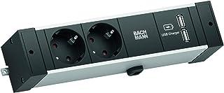 BACHMANN DESK RAIL | 2 x skyddskontakt | 1 x USB-laddare
