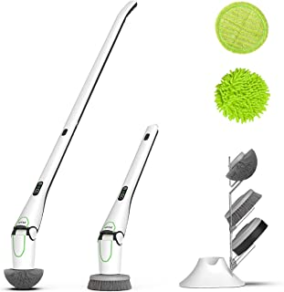 NPOLE Electric Spin Scrubber, LED Power Display Bathroom Cleaning Brush With5 Cleaning Scrubber Heads 1 Extension Arm and Storage Bracket Be Suitable Car,Tile,Carpet, Wall, white