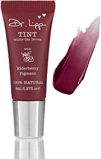 Natural Lanolin Tinted Lip Balm - Moisturizing Gloss For Dry Chapped Lips. Long Lasting Stains Made From Organic Edible Plant Pigments. Flavor, Fragrance, GMO, Paraben & Cruelty-Free. (Elderberry 8ml)