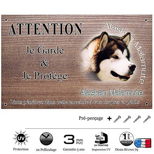 Pets-Easy.com Panneau Attention au Chien personnalisée Chien Malamute - pré percée et vis livrées. De 30 cm à 15 cm…