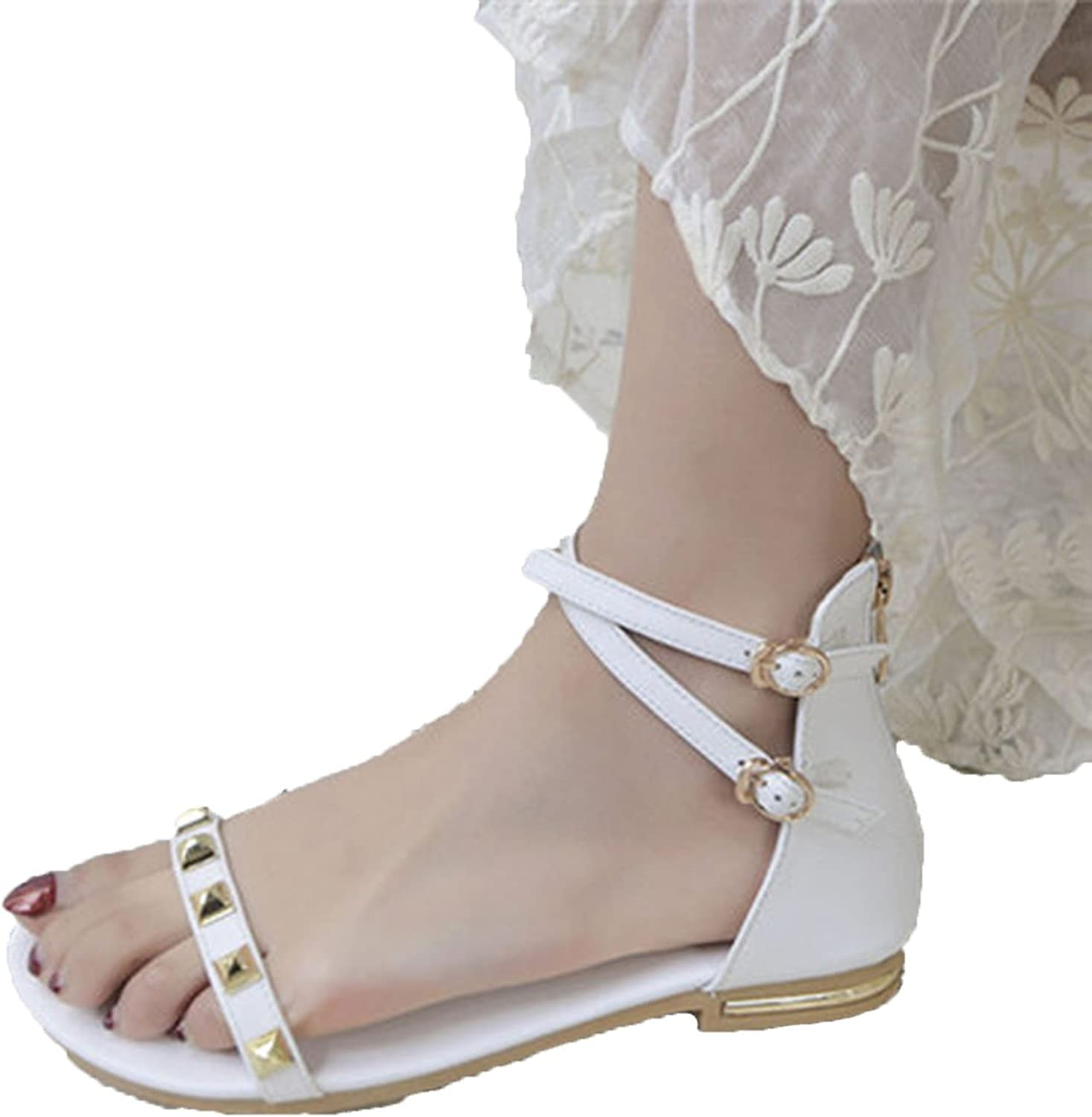 Running-sun Women's Sandals Ankle Strap Zip Genuine Leather Summer Flat shoes Woman Sandals with Rivet