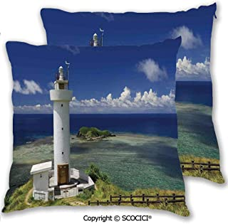 SCOCICI Throw Pillow Cover Case for Couch Sofa Home Decoration Double Side Print Hiracbosaki Lighthouse Seaside Greenery Clouds Travel Destinations Scenery Decorative Pillowcases