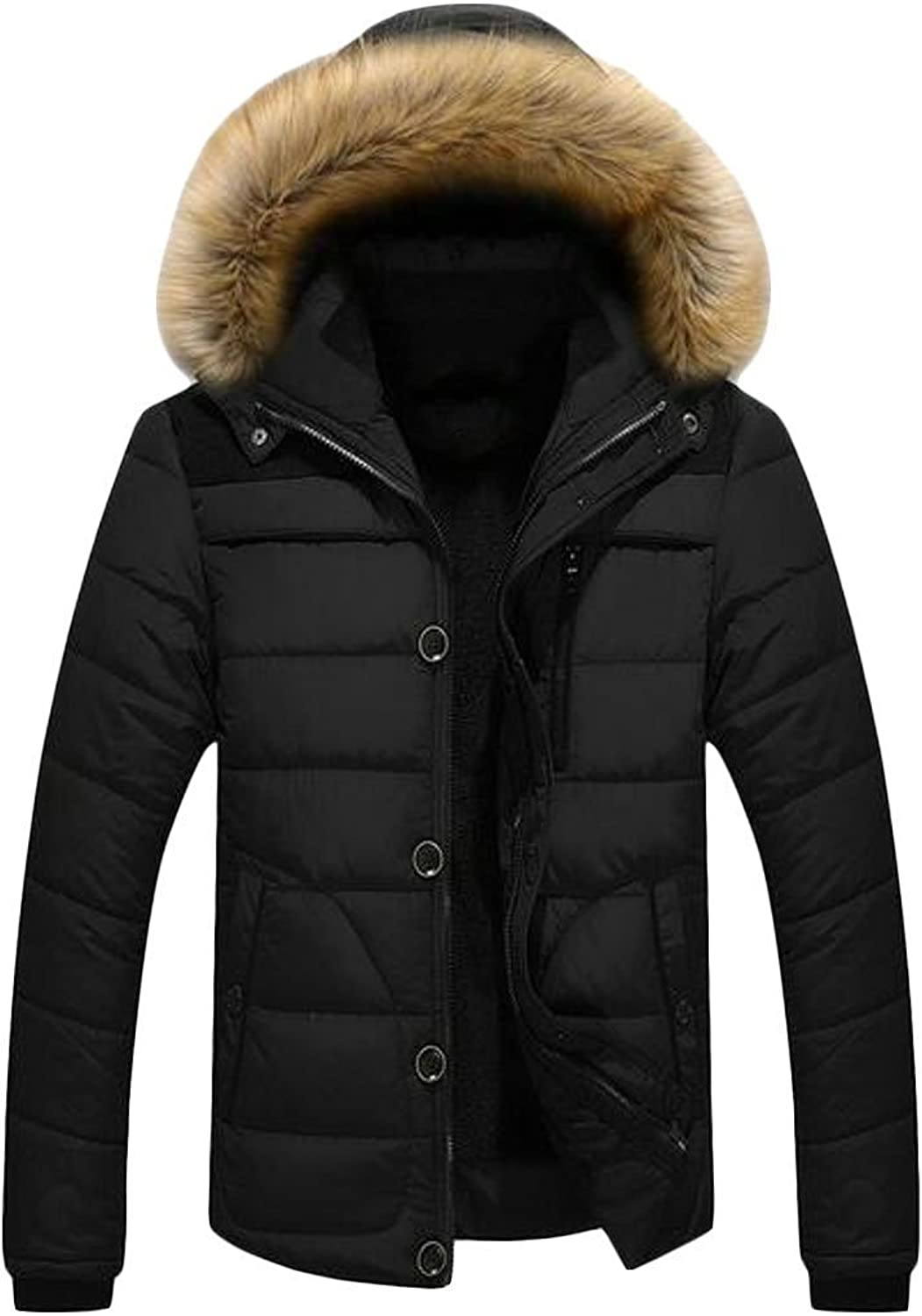 Suncolor8 Mens Warm Faux Fur Lined Winter Hooded Down Quilted Puffer Jacket Coat Outerwear