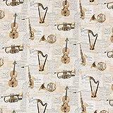 Baumwollstoff Digitaldruck Musik Instrumente Noten beige