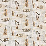 Dekostoff Halbpanama Digitaldruck Musik Instrumente Noten