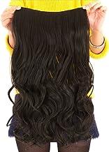 Rizado Extensiones de Cabello Clip de Pelo Natural Pelucas Cabello del Salón de Belleza del Cabello para Mujer de La Moda de 55 cm (L) x 25 cm (W) - Negro