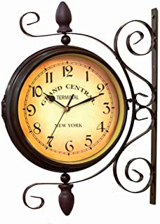 BELMAKS Vintage Double Sided Wall Clock Vintage Industrial Wall Clock for Outdoor Decorative Wall Art Antique Decor Wall O...