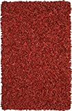 Pelle Leather Shag Rug, 30-Inch by 50-Inch, Red