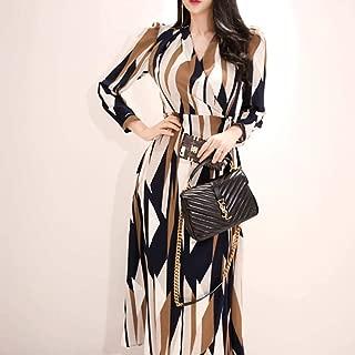 ABDKJAHSDK Summer New Ol Style V-Neck Color Long-Sleeved Women'S Chiffon Dress