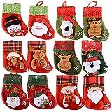 12 Stück Weihnachtsstrümpfe Socken Nikolausstiefel zum Befüllen und Aufhängen Weihnachten Bestecktasche Besteckhalter Weihnachtsdeko Weihnachtsbaumschmuck Christmasbaumschmuck