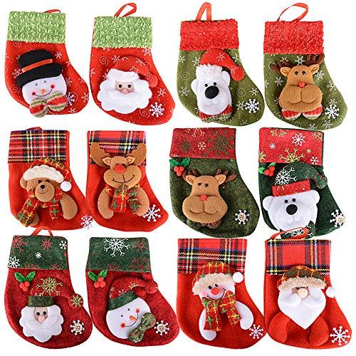 SERWOO 12pcs Medias Calcetines Navidad Bolsos Bolsas Regalo Almacenamiento de Dulces Caramelos Decoración Colgantes de Árbol Navidad Funda de Cubiertos