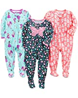 Simple Joys by Carter's Toddler Girls' 3-Pack Poly Footed Pajamas, Fairy/Butterfly/Kitty, 3T