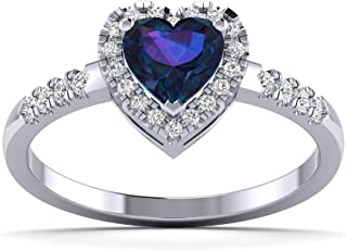 0.19cts Natural Diamond and Blue Heart Gemstone Gold Over Sterling Silver Hearl Ring for Your Love (White-Gold-Plated-Silver, 7)