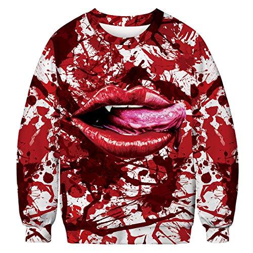 Halloween Element 3D sweatshirt voor de lente en de herfst, digitale bedrukking, trui met trekkoord, personaliseerbaar, met tassen, voor jongens en meisjes