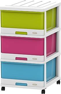 Cosmoplast IFHHST378WM Plastic 3 Drawer Storage Cabinet with Wheels, White, 70 x 50 x 40 cm, White Mix
