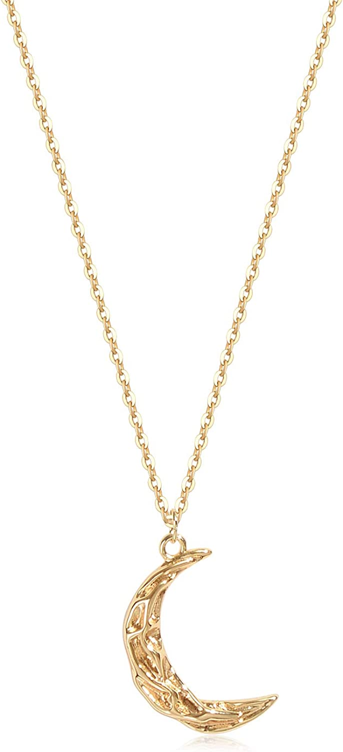 Valloey Rover Gold Initial Pendant Necklace, 14K Gold Filled Disc Double Side Engraved 16.5