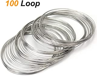 Coolrunner 100 Loop Jewelry Wire, Memory Beading Alloy Wire Cuff Bangle Bracelet Jewelry Findings for Wire Wrap Arts & Crafts Making Supplies(23 Gauge) (100 Loop)