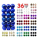 AHIKIDS Christmas Balls Ornaments for Xmas Tree - 36ct Small Shatterproof Christmas Decorations Tree Ball Holiday Wedding Party Decoration Perfect Hanging 1.6' Set