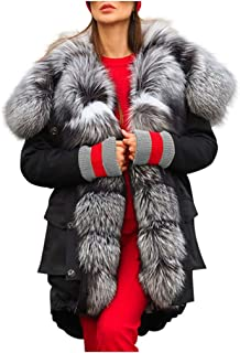 Lataw Womens Coats Fleece Winter Warm Jacket Large Fur Collar Hooded Outerwear Solid Long Sleeves Overcoat Cute Clothes