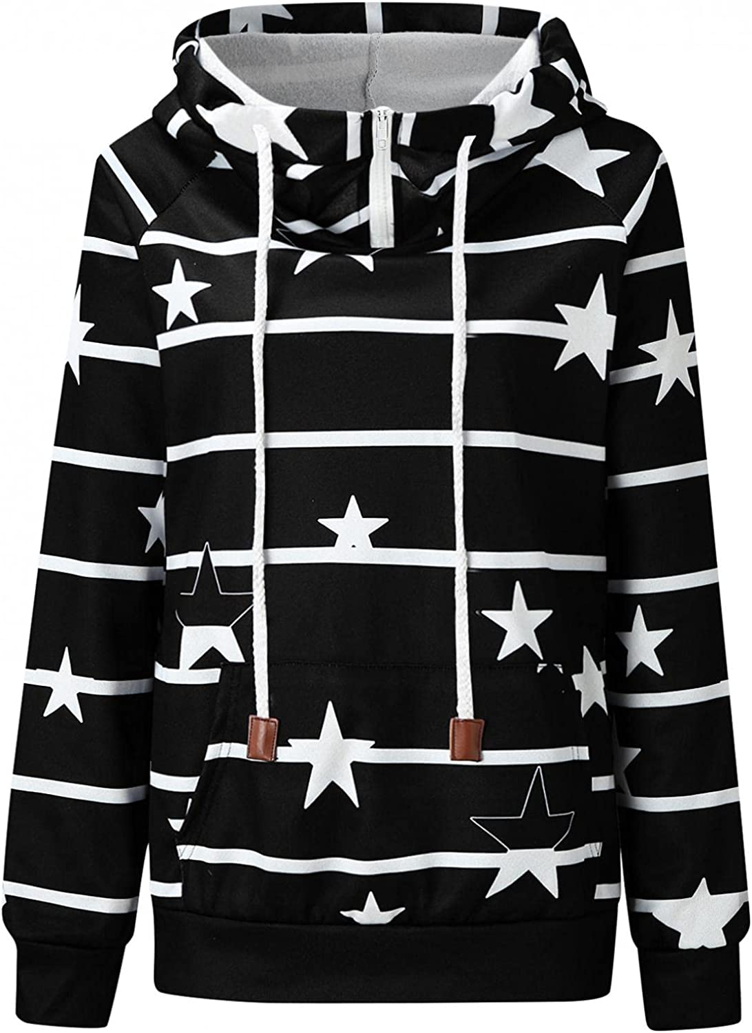 FABIURT Hoodies for Women, Womens 1/4 Zip High Collar Hoodies Fashion Striped Casual Loose Fit Long Sleeve Pullover Tops