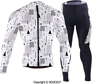 Outdoor Bicycle Rider Bicycle Suit Bicycle Wear,Indie Style Art with Abstract Tr