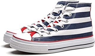 AUCDK Men Printed Canvas Shoes High Top Lace Up Casual Flats Britain Flag Fashion Sneakers Flat Espadrilles