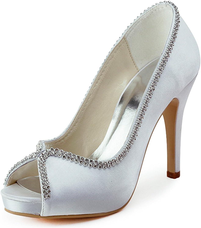 Elegantpark EP11083 Women Pumps Peep Toe Rhinestones Platform High Heel Satin Wedding Bridal shoes White US 9