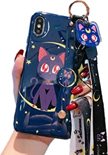 for iPhone 11 Pro Max Case Cover, Japan Anime Sailor Moon Case with Lanyard Strap Silicone Soft Phone Case Back Cover for iPhone 11 Pro Max Xs Max XR 6S 7 8 Plus (Luna Cat, for iPhone 11 Pro Max)