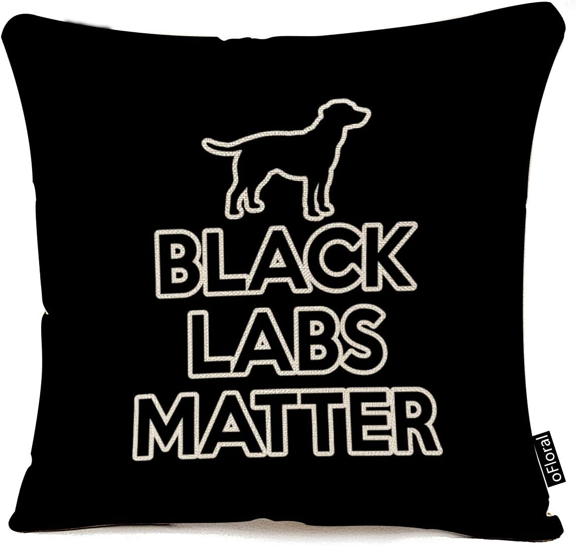 oFloral Throw Pillow Quality inspection Case Black Labs Decorative Co Tampa Mall Matter
