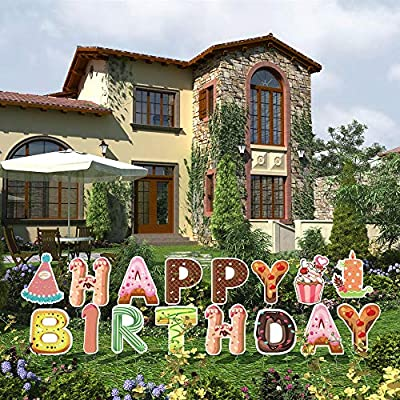 Double Sided Happy Birthday Yard Signs with Stakes 16PCS Weatherproof Corrugated Plastic Birthday Party Decorations Outdoor Lawn Decorations
