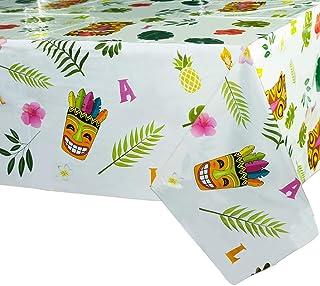 "(1 Pack) - WERNNSAI Hawaiian Luau Table Covers - 71"" x 43.3"" Disposable Plastic Tablecloth Aloha Tiki Party Supplies Summe..."