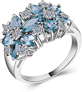 Charhoden Women's Luxury Blue Zircon Flower Shape Ring Size 9 HK-B1112