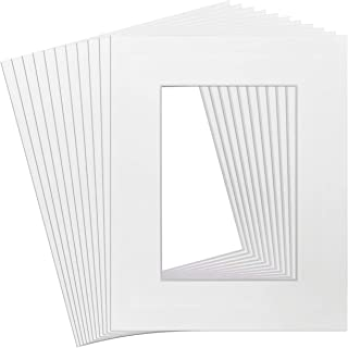 Golden State Art Pack of 10, Acid-Free White Pre-Cut 8x10 Picture Mat for 5x7 Photo with White Core Bevel Cut Frame Mattes