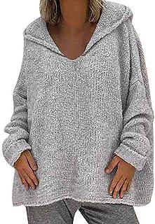 YEBIRAL Jerséis para Mujer Otoño e Invierno Suelto Color Sólido Basicas Suéter Sudadera con Capucha Jersey de Lana Blusas ...