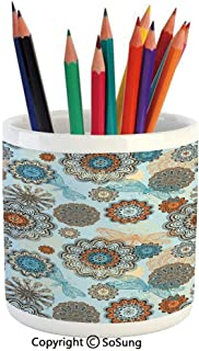 Printed Ceramic Pencil Pen Holder Case Box,Abstract Symmetric Flowers and Dragonflies Saesonal Simple Drawing Summer Decorative Beautiful Stationery for Daily Use in Office,Classroom,Home,Gift Idea,Li