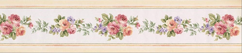 Wallpaper Border Roses Violet Cream and Red Floral 5.25