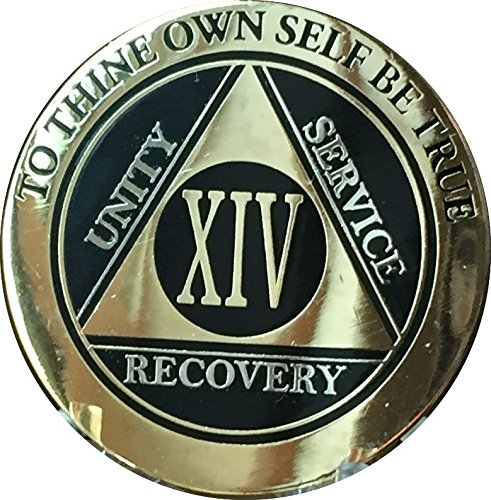 Recoverychip 14 Year AA Medallion Elegant Black Gold Silver Bi-Plated Alcoholics Anonymous Chip