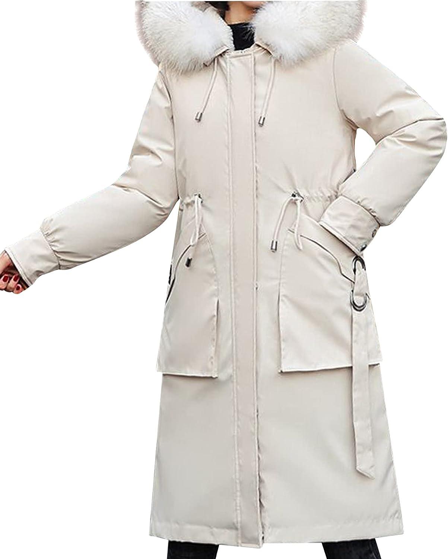Ainangua Women's Winter Down Hooded Thickened Parka Jacket Removable Faux Fur Collar Fleece Warm Coat Jacket