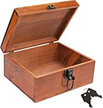 Wooden Keepsake Box, Dedoot Decorative Wooden Box Vintage Handmade Wood Stash Box Craft Box with Lock and Key for Jewelry Gift Storage Box and Home Decor, Brown, 9.3x7.6x4.5 Inch