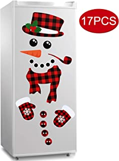 17Pcs Snowman Refrigerator Magnets | Christmas Decorations | Large Red Black Buffalo Plaid Fridge Magnet Stickers | Xmas Holiday Decorations for Fridge | Metal Door | Cabinets | Garage Door